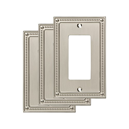 Franklin Brass W35060M-SN-C Classic Beaded Single Decorator Wall Plate/Switch Plate/Cover Satin Nickel, (3 Pack)