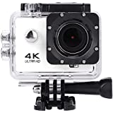 Acouto HD 4k 16P 2 Inch 170°Wide Angle Wifi Action Camera Sport Camera 30m underwater Camcorder DV Recorder with Waterproof Case Accessories Kit (White)