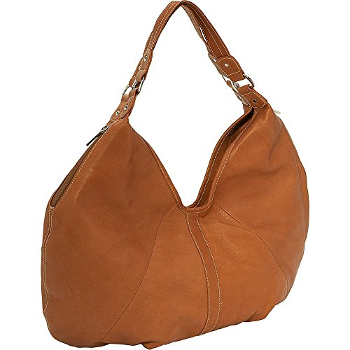 Piel Leather Large Hobo, Saddle, One (Piel Leather Large Handbag)