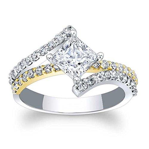 Silvergemking 1Ct Princess & Round Cut CZ Diamonds 14K White & Yellow Gold PL Split Shank Engagement Ring (Split Ring Yellow 14k Gold)