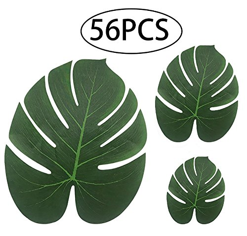 Tropical Palm leaves Luau Party Supplies - Imitation Plant Leaf - Jungle Hawaiian Summer Beach Table Decorations by Pack Know