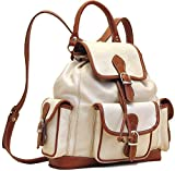 Floto Toscana Leather Backpack in Ivory with Brown Italian Calfskin Leather
