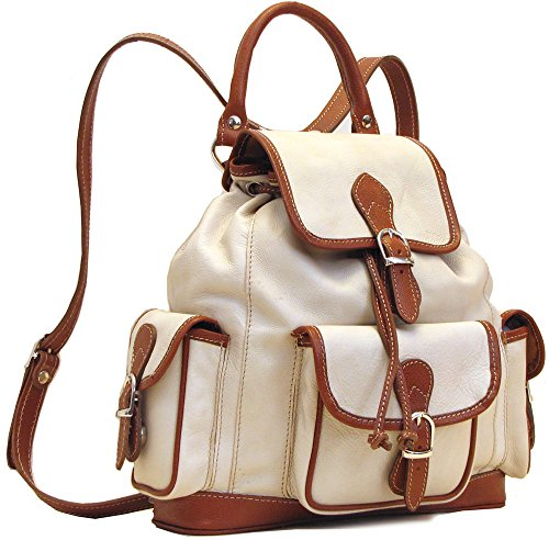 Floto Toscana Leather Backpack in Ivory with Brown Italian Calfskin Leather by Floto