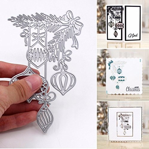 Bluelans Cutting Dies Stencil Metal Mould Template for DIY Scrapbook Album Paper Card Craft (Xmas Ball Cutting Dies) (Christmas Machine)