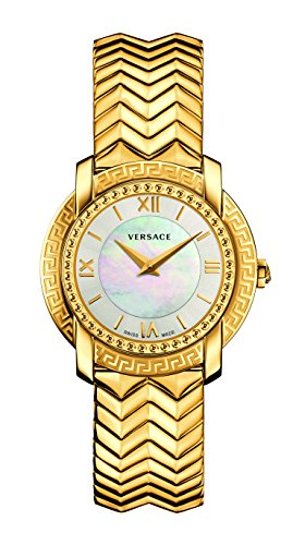 Versace Women's DV-25 Swiss-Quartz Watch with Stainless-Steel Strap, Gold (Model: VAM040016)