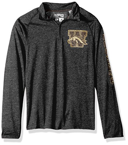 (adidas NCAA Western Michigan Broncos Adult Men White Noise Casual Ultimate 1/4 Zip Tee, Medium, Black Heathered)