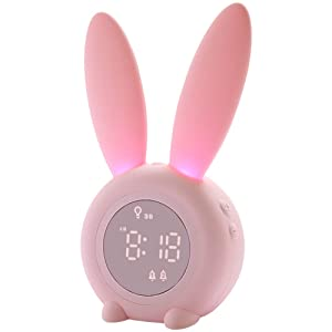 Kids Alarm Clock for Kids, Children's Sleep Trainer Alarm Clocks for Girls Boys Bedroom, Night Light for Kids, 5 Ringtones, Touch Control and Snoozing with 2000mAh Rechargeable Kid Alarm Clocks
