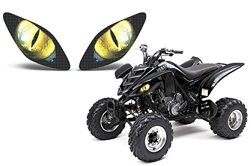 (AMR Racing ATV Headlight Eye Graphic Decal Cover for Yamaha Raptor 660 01-05 (Eclipse Yellow))