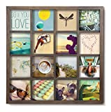 photo collage frames large - Umbra Gridart 4x4 Picture Frame – DIY Gallery Style Multi Picture Photo Collage Frame, Displays 16 Square 4 by 4 inch Photos, Illustrations, Art, Graphic Text & More, Walnut