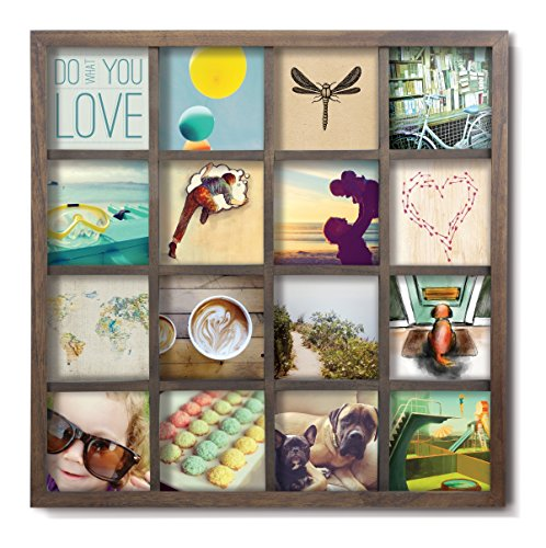 Umbra Gridart 4x4 Picture Frame – DIY Gallery Style Multi Picture Photo Collage Frame, Displays 16 Square 4 by 4 inch Photos, Illustrations, Art, Graphic Text & More, Walnut - GALLERY STYLE 4x4 PICTURE FRAME: Gridart is a multi picture frame that makes it easy for you to instantly create a custom photo collage showcasing 16 individual 4 x 4 inch photos from a memorable event, occasion, or your favourite social media site DISPLAY PHOTOS, ARTWORK, ILLUSTRATIONS & MORE: Use Gridart to showcase your favourite 4x4 photos or get creative and combine pictures, graphic text, illustrations, drawings, sketches, patterns and other unique art for a one-of-a-kind, DIY collage frame BEAUTIFUL HIGH QUALITY WOOD & GLASS FINISH: An aesthetically beautiful wood frame with a practical single glass lens design makes it easy to swap photos and clean your Gridart while the pre-mounted sawtooth hangers make it a breeze to hang - picture-frames, bedroom-decor, bedroom - 51Wro%2BO%2BFfL -