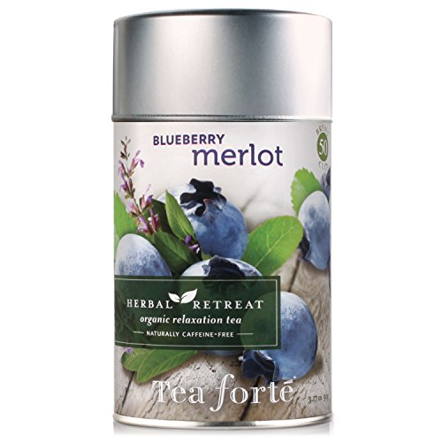 Tea Forte Herbal Retreat BLUEBERRY MERLOT Loose Leaf Organic Herbal Tea, 3.17 Ounce Tea Tin (Merlot Wine Kosher)