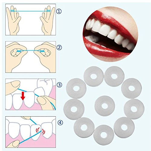 ROSENICE 10 Rolls Dental Flosser Dientes Limpieza Cera Menta 50m (Blanco): Amazon.es: Salud y cuidado personal