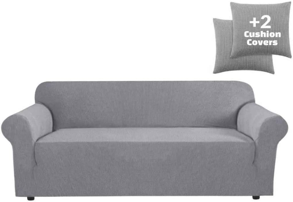 Grey Sofa Slipcover Stretch High Spandex Futon Cover//Lounge Covers//Couch Covers Furniture Covers for 3 Seater Futon Slipcover Form Fit Stretch Stylish Furniture Cover//Protector Futon, Grey