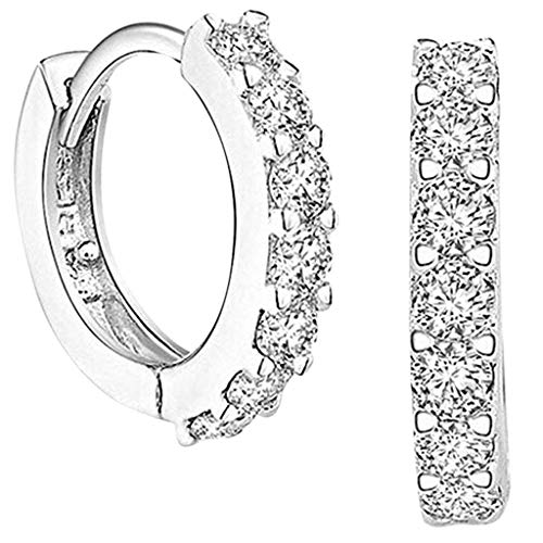 TONGHANG Hoop Earrings for Women, Plated Cubic Zirconia Cuff Earrings Huggie Stud, Ear Jewelry for Women, Perfect Valentine\'s Day, Birthday Gift