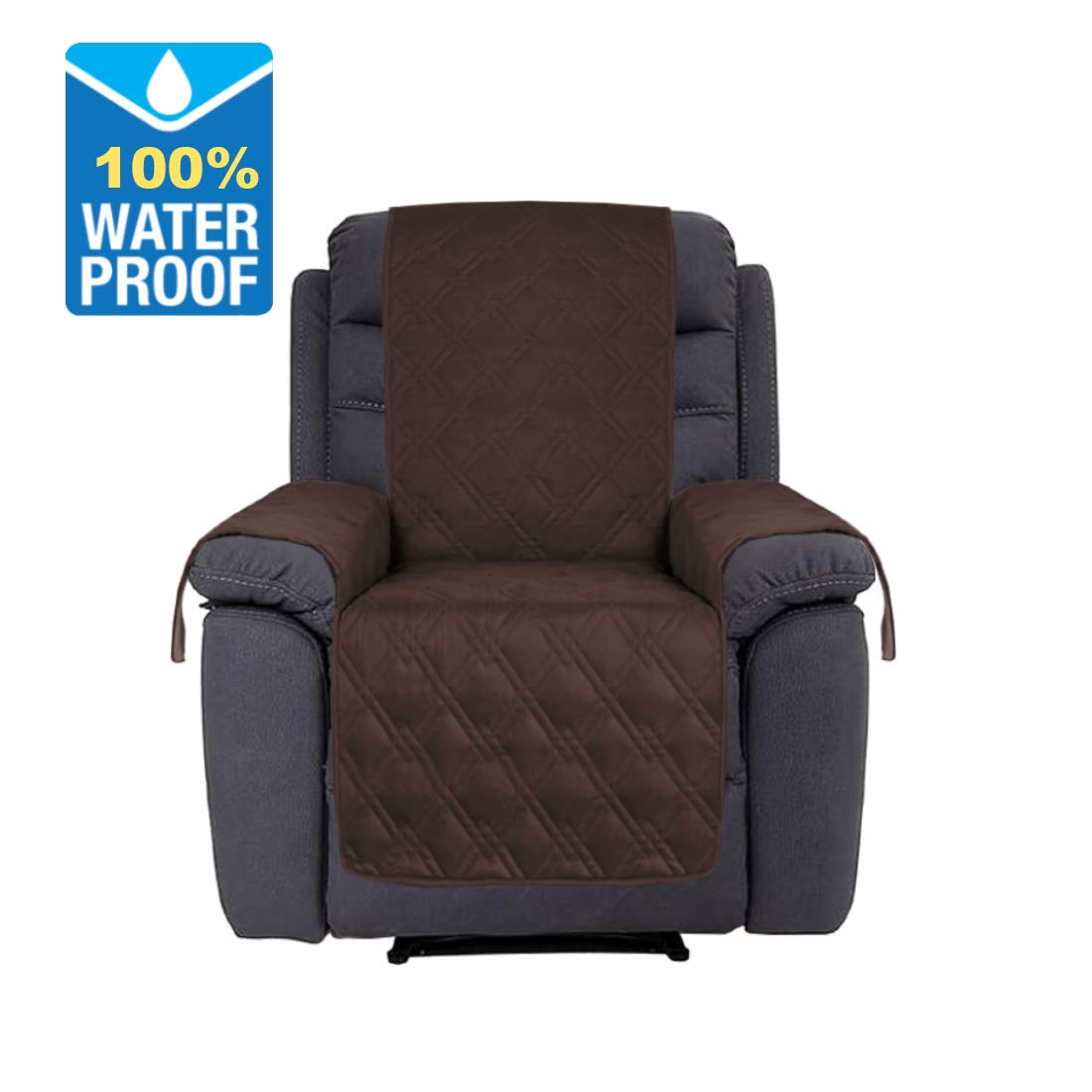 H.VERSAILTEX 100% Waterproof Furniture Cover with Silicon Rubber Print Non-Slip Sofa Protector for Pets, 91 inch x 84 inch (Oversized Recliner: Brown)