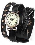 AMPM24 Women's Lady Wrap Around Quartz Watch Bracelet Black PU Leather WAA340