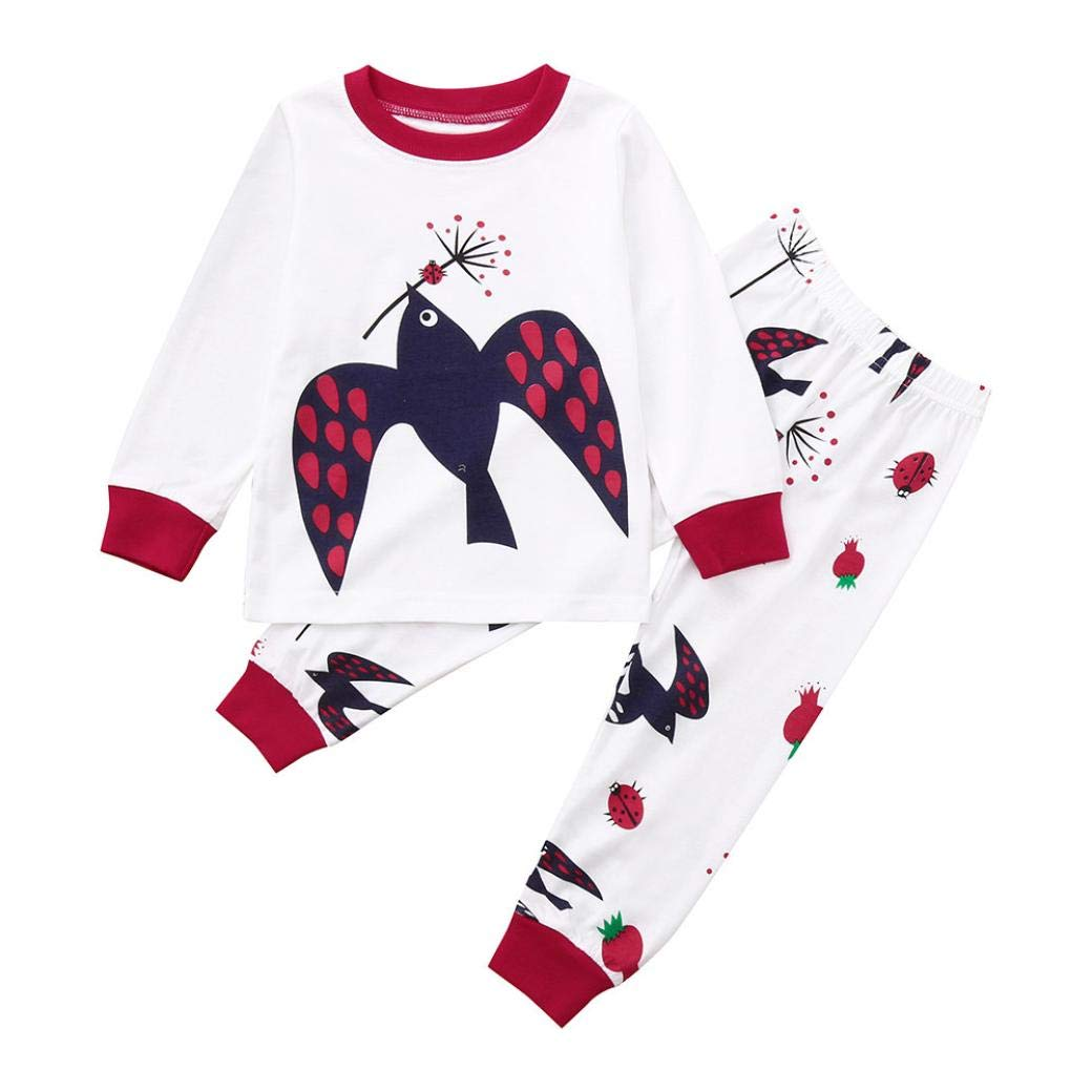 Suma-ma (18M-5T) Toddler Kid Baby Children's Long-Sleeved Cartoon Bird Print top +Pants Girls Clothes Outfit Sets