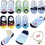 Yshare® 5 Pairs Boys 6-24 Month Cartoon Baby Toddler Anti Slip Skid Low Cut Boat Socks + Gift Bangle , No Show Newborn Socks