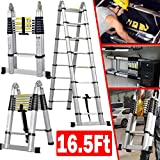 Aluminum Telescopic Telescoping Ladder 5M/16.5Ft A Type Frame Portable Extension Folding Multi-Purpose Heavy Duty Compact Ladder with Hinges, 330lb Load Capacity Non Slip for Home Loft Office