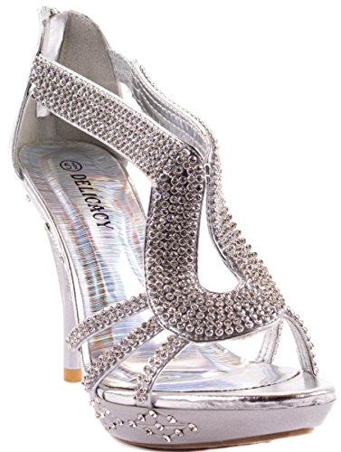 Zapatos De Mujer Delicadeza Zapatos De Tacones Altos Delicadeza-06 Con Diamantes De Imitación Agrupados En Correas Y Plata De Plataforma