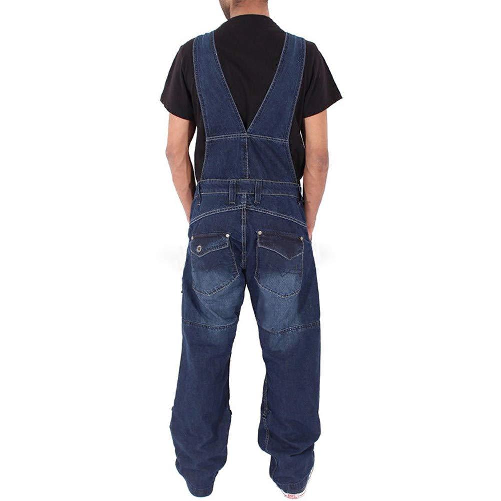 Arbeitshosen Lange Jeanshose Retro Denim Arbeitslatzhose Jumpsuit Destroyed Ripped Multifunktion Hose Arbeitskleidung Fansu Herren Jeans Latzhose Overall