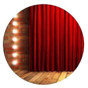 alfombrilla de ratón fabrick cortina roja en el escenario - ronda - 20cm
