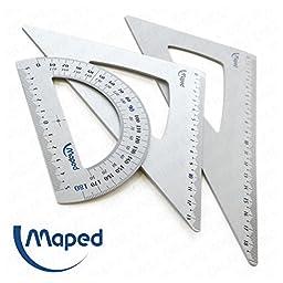 Maped - Premium Aluminium Geometry Set - Protractor & Set Squares - 180°/ 60° / 45°