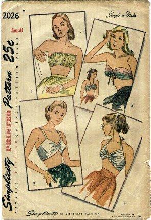 (Simplicity 2026 Sewing Pattern Set of Bra Halter Bandeau Tops Bust 30 - 32)
