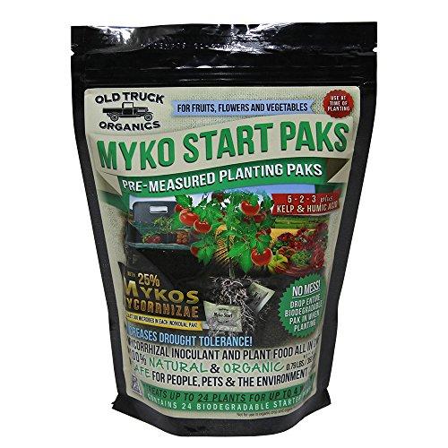 Myko Start Paks 5-2-3 Organic Fertilizer Pre-measured Transplant Paks with MYKOS Mycorrhizae, 24 Count Bag