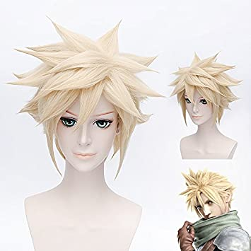 Gooaction 12 Male Short Straight Blonde Fluffy Spiky Layered Wig For Final Fantasy Vii Cloud Strife Mens Anime Synthetic Hair Cosplay Costume Wigs