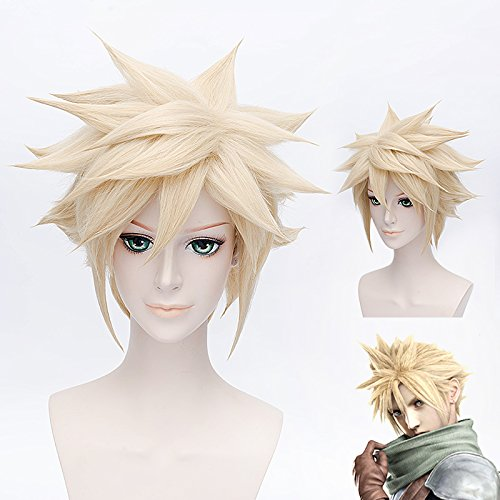 "Price comparison product image GOOACTION 12"" Golden Short Msn Synthetic Hair Wigs Final Fantasy Anime Cloud Strife Cosplay Costume Party Wig"