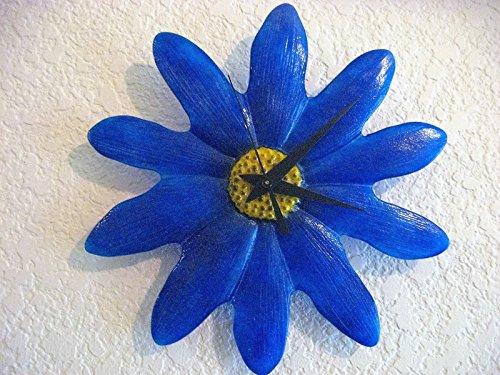 Blue Fused Glass Flower Clock - Glass Killeen