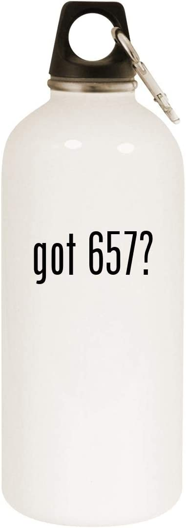 got 657? - 20oz Stainless Steel White Water Bottle with Carabiner, White