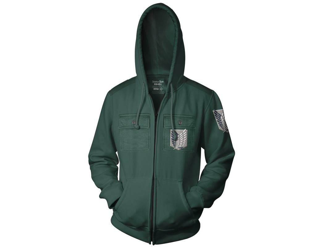 Ripple Junction Attack on Titan Adult Survey Corp Chest Pocket Fleece Zip Hoodie