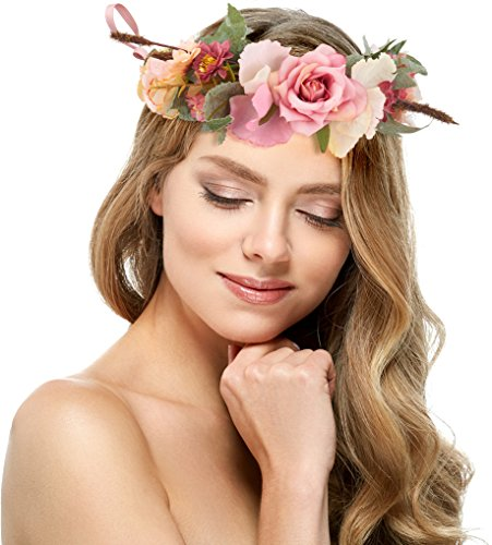 Pink Rose Flower Crown - Perfect for Wedding Festivals, Casual wears & Photography