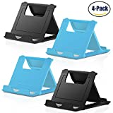#9: Cell Phone Stand, 4 Pack Smartphone Foldable & Adjustable Multi-angle Pocket Desktop Holder Cradle for Tablets iPhone X/8/7 Plus/7/6s/6/5/4 SE iPad mini, Nintendo Switch Samsung Galaxy,Black+Blue