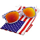 grinderPUNCH OK USA! American US Flag Reflective Revo Color Sunglasses UV400 Red