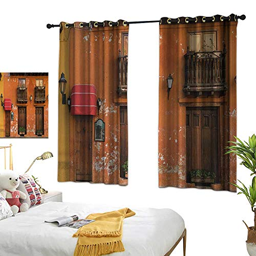 (Bedroom Curtains W63 x L63 America,Cartagena Streets with Vibrant Color Building Facade Caribbean Landscape Columbia,Orange Brown Room Darkening Curtains for Childrens Living Room Bedroom)