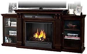 Real Flame Calie Entertainment Center Ventless Gel Fireplace Dark Walnut Home