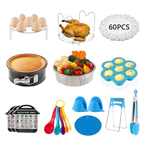 Accessories for Instant Pot, 73 Pieces Pressure Cooker Accessories Compatible with Instant Pot 5/6/8Qt- Include Steamer Basket, Springform Pan, Egg Bites Mold, Oven Mitts, Cheat Sheets, etc.
