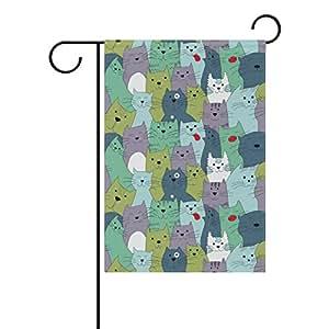 """bettken gatos Fibra de poliéster impresión a doble cara bandera de Jardín al aire libre (12""""W x 18"""" H)"""