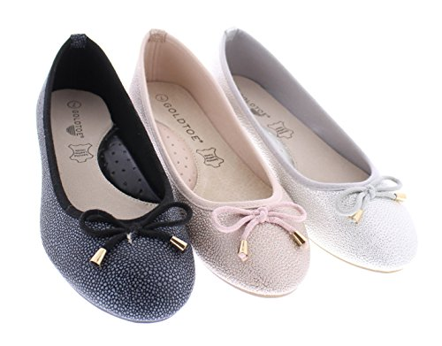 Arch Silver Flat Skimmer Womens Support On Comfortable Casual With Slip Dress Toe Shoe Clarke Ballet Bow Gold 6an4Hn