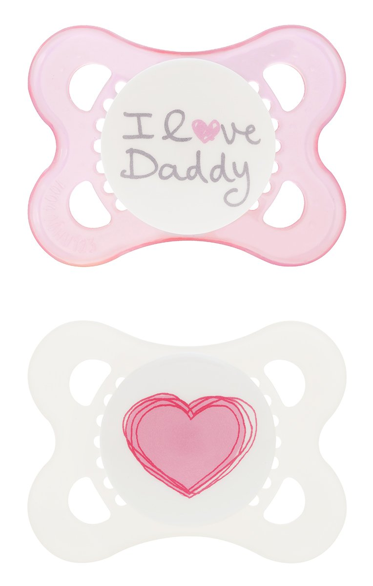MAM Silicone Love and Affection Pacifier, I Love Daddy, Girl, 0-6 Months, 2-Count, (For Girl) C1134-024-4-1