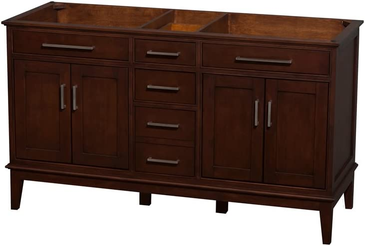 Wyndham Collection Hatton 60 Inch Double Bathroom Vanity In Dark Chestnut No Countertop No Sinks And No Mirror Amazon Com