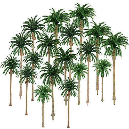 - 30 Pieces Model Coconut Palm Tree Scenery Model Tree Mixed Model Trees for Model Train Railway Architecture Diorama DIY Scenery Landscape (Style 1)