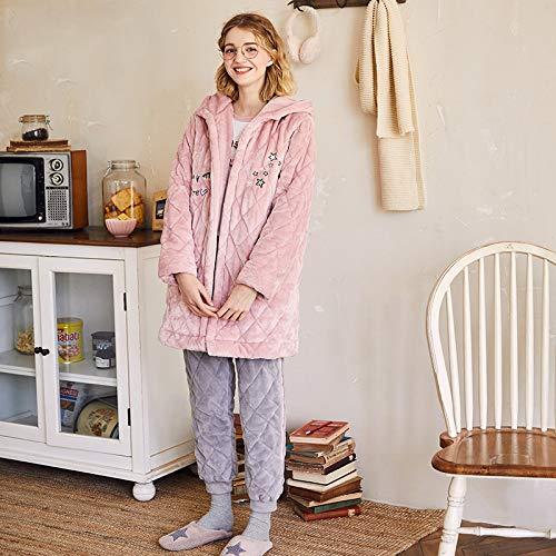 Noche Conjunto Olliuge Dormir Calidad Franela Invierno Capucha Cardigan Camisones Ropa Pijamas Cálido De Grueso Acolchado Señoras Con rX8qx1XB