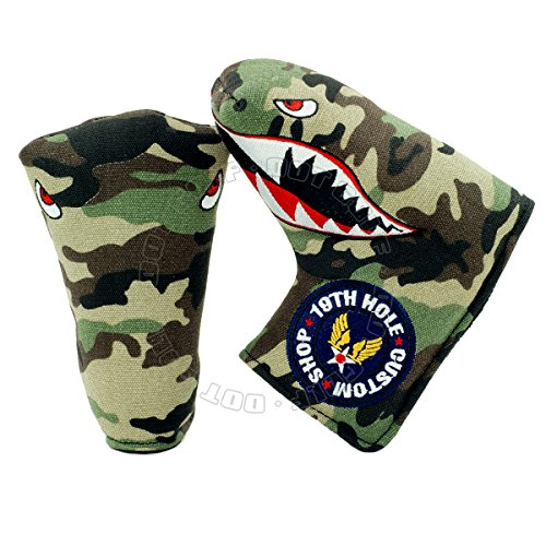 19th Hole Custom Shop Fighter Plane Headcover for Blade and Midsize Mallet Putter, Camouflage