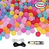plastic beads for jewelry making - WXBOOM 1000pcs Assorted Colorful Translucent Frosted Bulk Beads Acrylic Beads Kids DIY Round Plastic Beads with 1 Pair of Scissors, 1 Black and 1 White Cord (6mm) for Jewelry Making