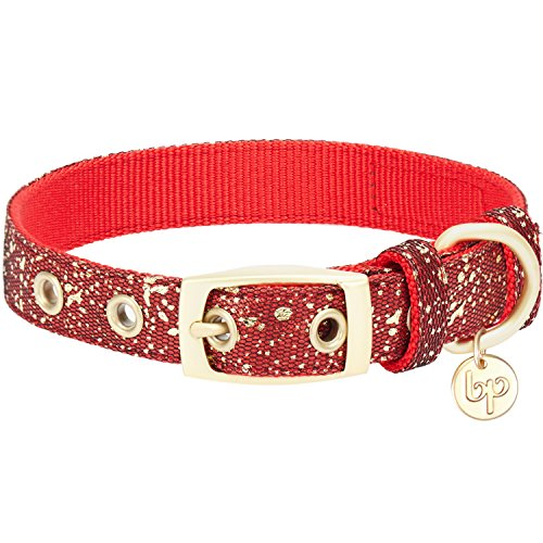 Blueberry Pet 2019 New 4 Colors Glam Life Gold Stamping Lace Dog Collar in True Red, Neck 9-12.5
