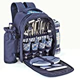 Flexzion Picnic Backpack Kit - Set for 4 Person With Cooler Compartment, Detachable Bottle/Wine Holder, Fleece Blanket, Plates and Flatware Cutlery Set (Plaid Tartan - Blue)